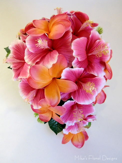 Real touch frangipani wedding bouquets quality artificial flowers real touch frangipani and silk hibiscus teardrop bouquet mightylinksfo