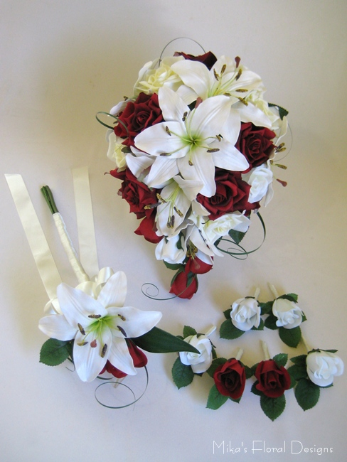 Artificial Lily Mixed Roses Wedding Flower