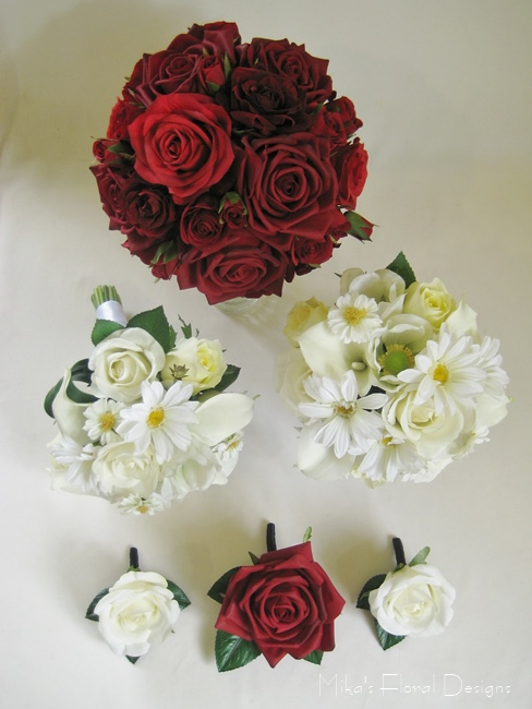 Red Roses And Cream Mixed Flowers Rustic Style Wedding Flower Package