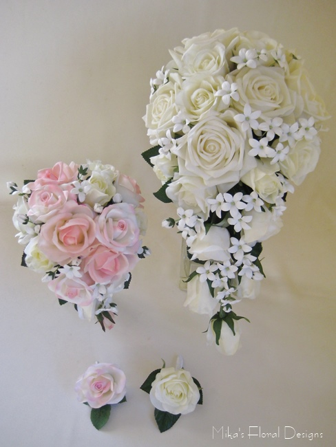 Artificial Rose And Stephanotis Wedding Flower Package