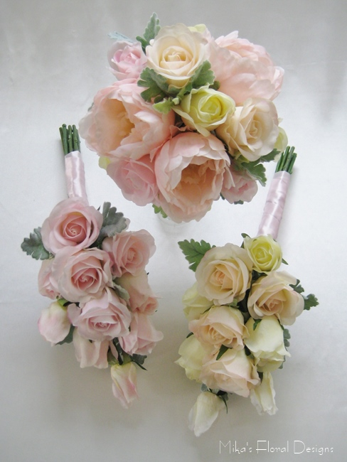 Artificial Peony And Rose Wedding Flower Package