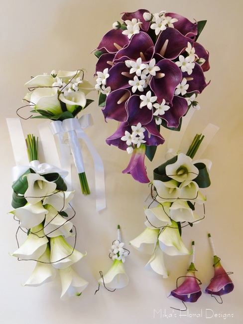 Real Touch Calla Lily And Stephanotis Wedding Flower Package