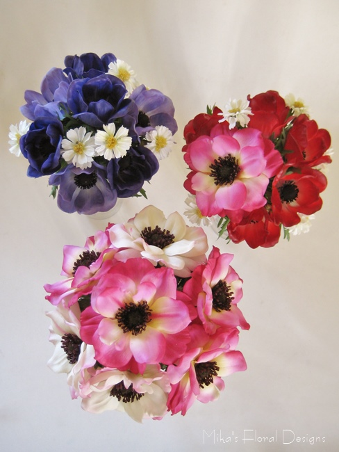 Artificial Mixed Coloured Anemone And Coreopsis Garden Style Bouquets