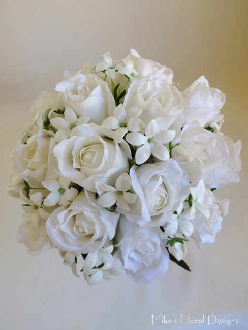 Silk rose wedding bouquets quality artificial flowers real touch rose bud and stephanotis bridal round bouquet mightylinksfo Images