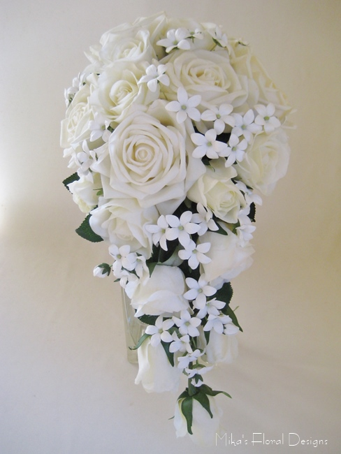 Silk rose wedding bouquets quality artificial flowers bridal bouquet of artificial mixed flowers and stephanotis with swarovski gold beads real touch rose and stephanotis bridal trailing bouquet mightylinksfo