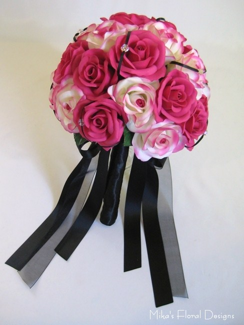 Silk Rose Round Bouquet with Swarovski and Ribbon Ornament