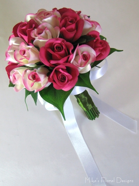 Silk Rose Bud Round Bouquet with Natural Look of Stems