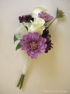Lace Wrapped Ribbon Ornament in Rose and Scabious Hand Tied Bouquet