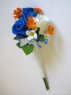 Lace Wrapped Ribbon Ornament on Mixed Flowers Hand Tied Bouquet