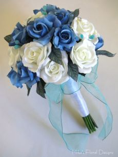 Turquoise Coloured Teardrop Beads in Mixed Roses Round Bouquet