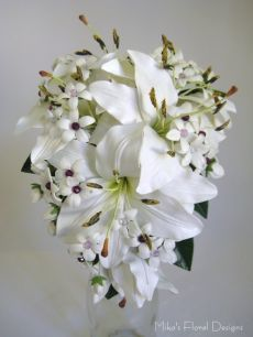 Real Touch Artificial Lily and Stephanotis with Swarovski Crystal Purple Lilac Beads
