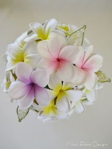 Wire / Swarovski Crystals and Pearls Leaves in Frangipani Bouquet