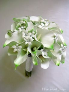 Beaded Stephanotis in Real Touch Calla Lily Round Bouquet