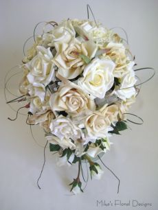 Silk Rose Teardrop Bouquet with Swarovski Crystal and Ribbon Loops