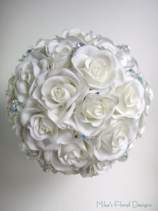 Swarovski Crystals and Blue Galss Beads in Rose Round Bouquet