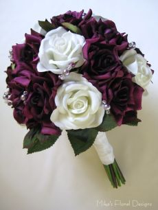 Round Bouquet of Mixed Silk Roses with Beads Ornament