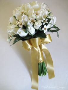Beaded Stephanotis (Swarovski Crystal Pearls) in Real Touch Rose Bud Round Bouquet