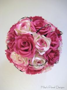 Swarovski Crystals and Black Satin Loops in Rose Round Bouquet