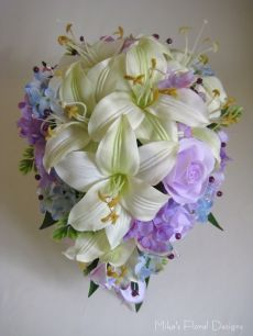 Swarovski Crystal and Purple Beads in Silk Tiger Lily, Rose and Hydrangea Teardrop Bouquet