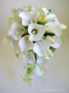 Turquoise Coloured Beads in Real Touch Calla Lily and Mini Tulip Teardrop Bouquet