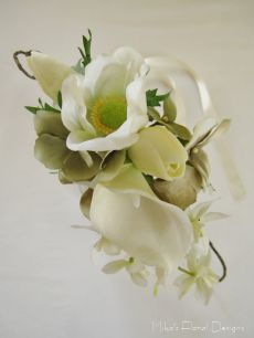 Anemone, Calla Lily, Hydrangea, Tulip and Orchid Bridal Vine Hair Wreath