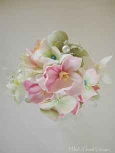 Wrist Corsage of Blossom and Hydrangea with Beads and Wire