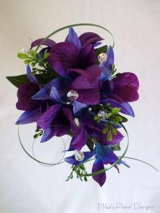 Artificial Blue Purple Orchid with Swarovski Crystals Corsage