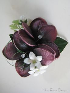 Corsage of Real Touch Frangipani and Stephanotis with Swarovski Crystals
