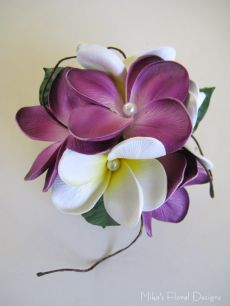 Real Touch Frangipani with Beads Wrist Corsage for Bridesmaid / Mother