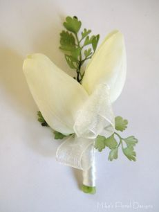 Real Touch (Soft Feel) Double Mini Tulips Buttonhole / Corsage