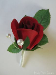 Buttonhole of Rose Bud with Glass Pearl Beads