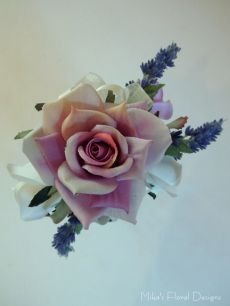 Artificial Rose and Lavender Wrist Corsage for Bridesmaid / Mother