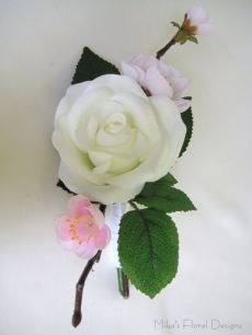 Artificial Rose and Peach Blossom Buttonhole / Corsage