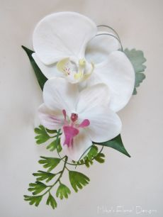 Buttonhole of Silk/Artificial Mixed Phalaenopsis Orchids with Dusty Miller