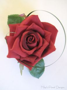Silk Red Rose Corsage Single Bloom with Grass Accent