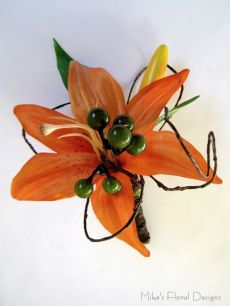 Silk Tiger Lily Buttonhole (with Berry and Vine)