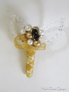 Buttonhole/Corsage of Swarovski Crystals and Mixed Beads for Wedding