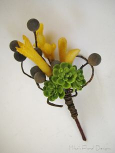 Buttonhole of Silk/Artificial Kangaroo Paw, Succulent and Berry