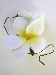Real Touch Frangipani Buttonhole (double flowers)