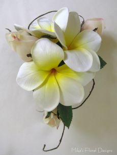 Real Touch Frangipani and Rose Bud Wrist Corsage
