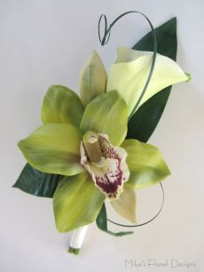 Groom's Buttonhole of Real Touch Calla Lily and Cymbidium Orchid