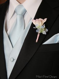 Real Touch Freesia and Silk Hydrangea Buttonhole