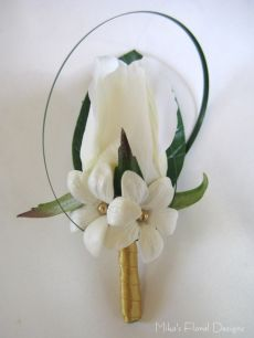 Buttonhole / Corsage of Real Touch Rose Bud and Beaded Stephanotis (Swarovski Crystal Pearl)