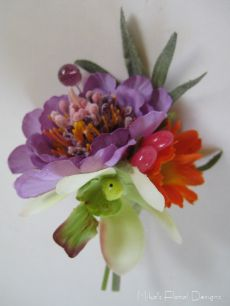 Buttonhole/Corsage of Scabious, Orchid, Daisy with beads (Purple Swarovski Crystal Globe)