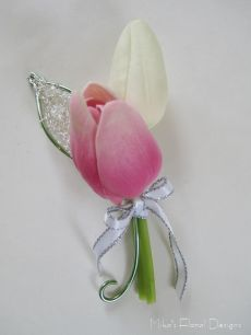 Buttonhole / Corsage of Mini Tulip with Aluminium, Bullion Wire and Swarovski Crystal Beads