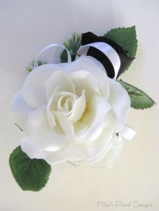 Silk Rose Open Bloom and Bud Corsage