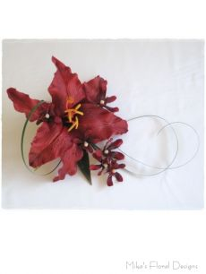 Single Oriental Lily and Mini Orchid Cake Topper