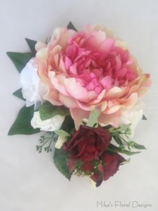 Silk Peony, Rose and Lisianthus Cake Topper