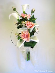 Foam Calla Lily and Silk Rose Arm Sheaf Bouque