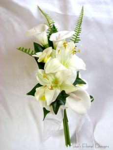 Foam Calla Lily and Silk Tiger Lily Arm Sheaf Bouquet